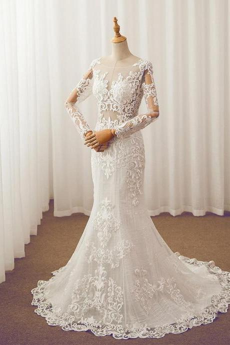 Wedding Dresses, Bridal Dresses, Mermaid Wedding Dresses, Long Sleeve Wedding Dresses, Customize Wedding Dresses, Aplique Bridal Dresses,Lace Wedding Dresses, Bridal Gowns