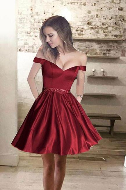 Sexy Off-shoulder Homecoming Dress, Red V Neck Homecoming Dresses, Custom Made Short Prom Dresses, Beaded Party Dresses