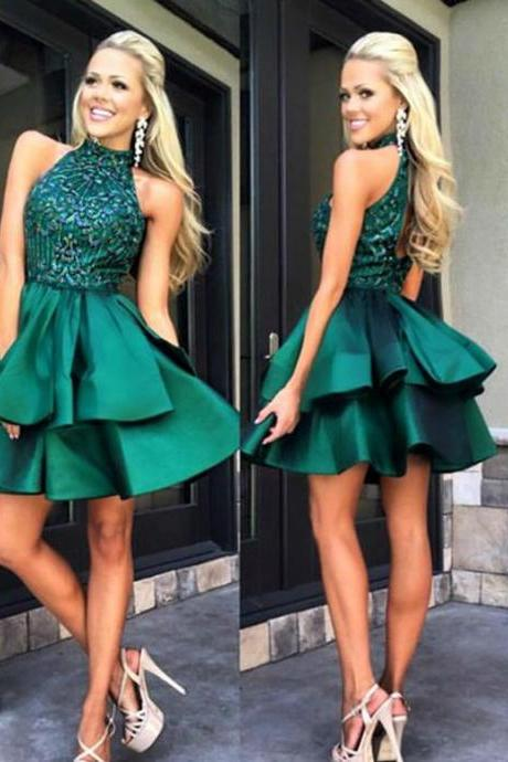 Homecoming Dresses 2018, Green Homecoming Dresses, Satin Homecoming Dresses, Beaded Homecoming Dresses, Short Homecoming Dresses, Short Prom Dresses, Short Party Dresses, Prom Dresses, Cocktail Dresses
