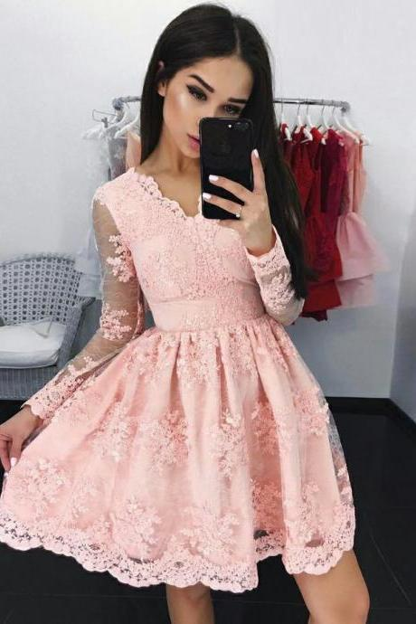 Homecoming Dresses, Homecoming Dresses 2018, Long Sleeve Homecoming Dresses, Applique Homecoming Dresses, Lace Homecoming Dresses, Short Prom Dresses, Short Party Dresses, Prom Dresses, Cocktail Dress