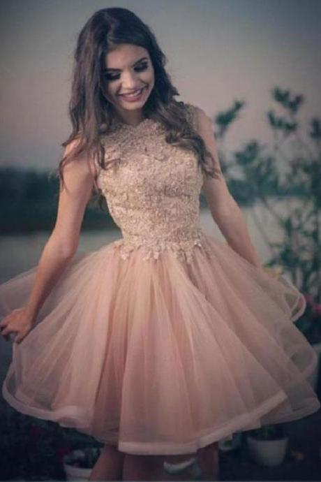 Homecoming Dresses, Homecoming Dresses 2018, Sleeveless Homecoming Dresses, Applique Homecoming Dresses, Tulle Homecoming Dresses, Short Prom Dresses, Short Party Dresses, Prom Dresses, Cocktail Dress