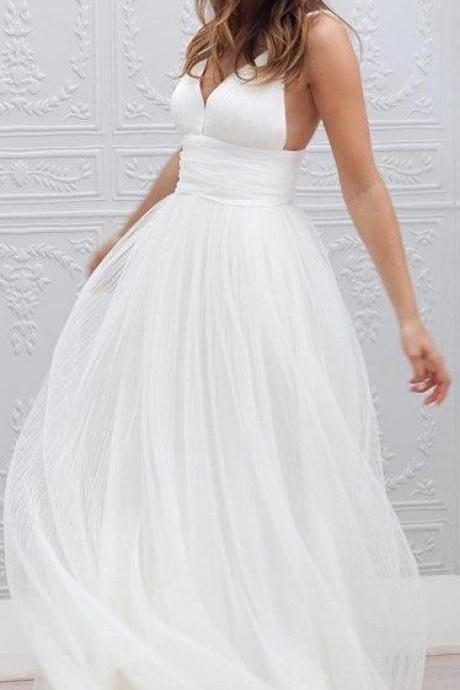 Wedding Dresses, Wedding Dresses 2018, V-neck Wedding Dresses, Tulle Wedding Dresses, Custom Made Wedding Gowns , Bridal Dresses, Spaghetti Strap Wedding Dresses, Bridal Gowns