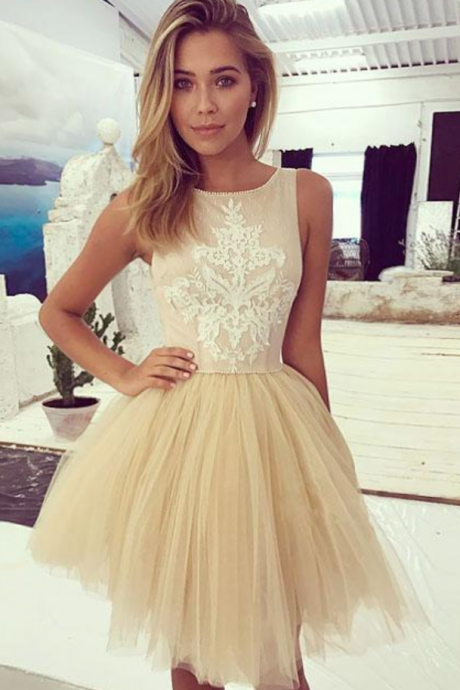 Homecoming Dresses, Homecoming Dresses 2018, Round Neck Homecoming Dresses, Sleeveless Tulle Homecoming Dresses, Applique Homecoming Dresses, Short Prom Dresses, Short Party Dresses, Prom Dresses, Cocktail Dress