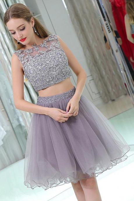 Homecoming Dresses, Round Neck Homecoming Dresses, Beading Homecoming Dresses, 2018 Homecoming Dresses, Two Pieces Homecoming Dresses, Short Prom Dresses, Short Party Dresses, Prom Dresses, Cocktail Dress