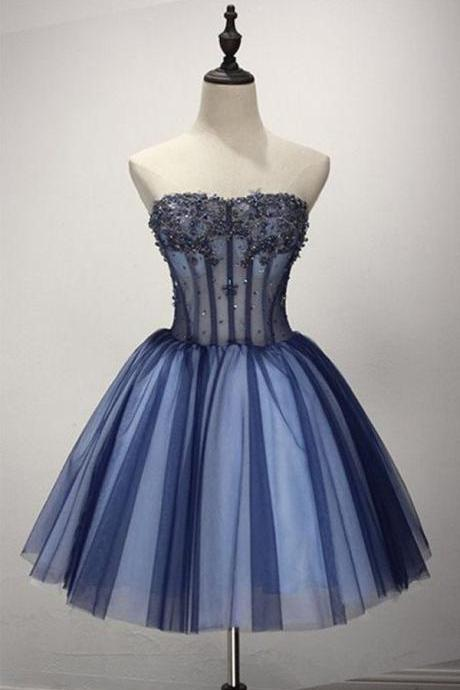 Homecoming Dresses, Homecoming Dresses 2018, Strapless Homecoming Dresses, Sleeveless Tulle Homecoming Dresses, Applique Tulle Homecoming Dresses, Short Prom Dresses, Short Party Dresses, Prom Dresses, Cocktail Dress