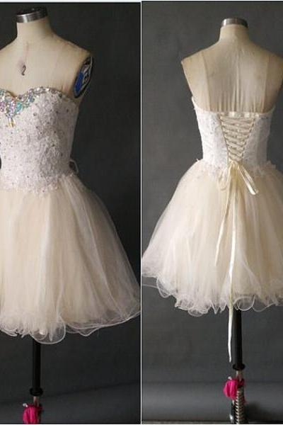 Homecoming Dresses, Homecoming Dresses 2018, Sweetheart Homecoming Dresses, BeadingTulle Homecoming Dresses, Short Homecoming Dresses, Short Prom Dresses, Short Party Dresses, Prom Dresses, Cocktail Dress