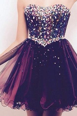 Homecoming Dresses, Homecoming Dresses 2018, Sweetheart Homecoming Dresses, Beading Homecoming Dresses, Tulle Homecoming Dresses, Short Prom Dresses, Short Party Dresses, Prom Dresses, Cocktail Dress