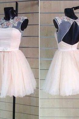 Homecoming Dresses, Homecoming Dresses 2018, Round Neck Homecoming Dresses, Backless Tulle Homecoming Dresses, Applique Homecoming Dresses, Short Prom Dresses, Short Party Dresses, Prom Dresses, Cocktail Dress