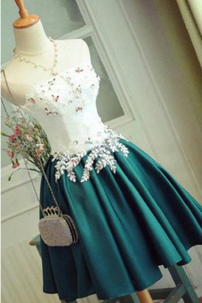 Homecoming Dresses, Homecoming Dresses 2018, Strapless Homecoming Dresses, Beading Homecoming Dresses, Applique Satin Homecoming Dresses, Short Prom Dresses, Short Party Dresses, Prom Dresses, Cocktail Dress