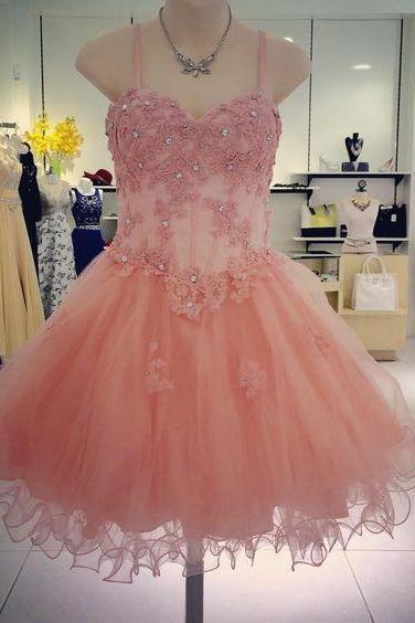 Homecoming Dresses, Short Homecoming Dresses 2018, Spaghetti Strap Homecoming Dresses, Applique Beading Homecoming Dresses, Tulle Homecoming Dresses, Short Prom Dresses, Short Party Dresses, Prom Dresses, Cocktail Dress