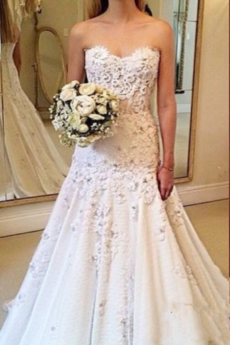 Wedding Dresses, Wedding Dresses 2018, Sweetheart Wedding Dresses, Applique Wedding Dresses, Custom Made Wedding Dresses, Elegant Wedding Gowns, Bridal Dresses, Bridal Gowns