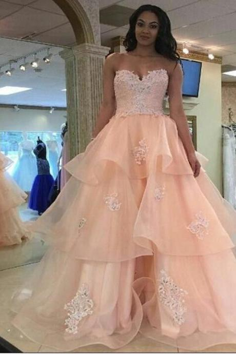 Prom Dresses, Sweetheart Prom Dresses, Applique Prom Gowns, A-Line Prom Dresses, Beading Prom Dresses, Layered Party Dresses, Long Evening Dresses,Party Dresses