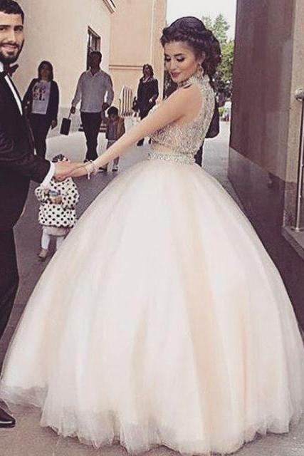 Prom Dresses, Halter Prom Dresses, Beading Prom Dresses, A-line Prom Gowns, Tulle Prom Dresses, Sleeveless Party Dresses, Long Evening Dresses, Party Dresses